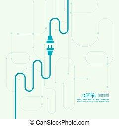 enchufe, socket., resumen, alambre, plano de fondo