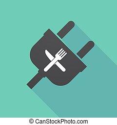 enchufe, tenedor, sombra, cuchillo, largo