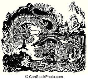 encicling, dragons, perle, noir, deux, blanc