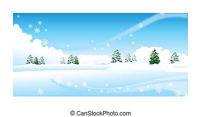 encima, árboles de abeto, paisaje de nieve