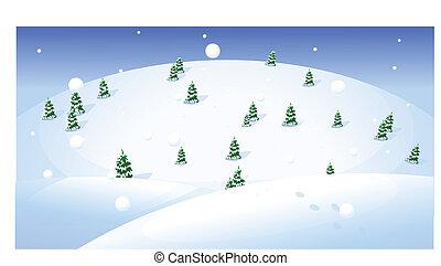 encima, árboles de abeto, paisaje, snowcapped