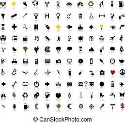 encima, 100, elegante, iconos, con, sombra