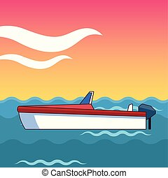 encima, a la deriva, mar, barco