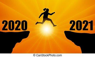 encima, abismo, saltar, ilustración, 2020, entre, vector, nueva mujer, 2021, silueta, year., transición, montañas.