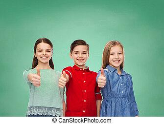 encima, actuación, arriba, verde, tabla, feliz, niños, pulgares