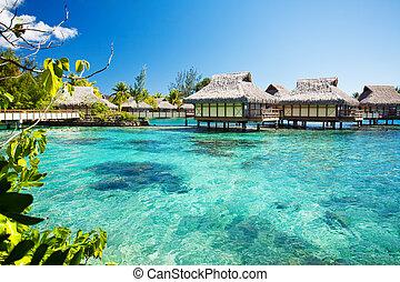 encima, agua, bungalows, con, encima, asombroso, laguna