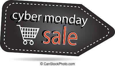 encima, aislado, fondo blanco, etiqueta, cyber, lunes, ventas