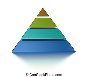 encima, aislado, pyramic, cortar, niveles, 4, plano de fondo, blanco