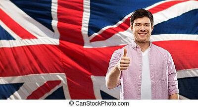 encima, arriba, bandera inglesa, pulgares, hombre, actuación, feliz