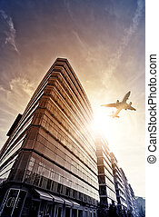 encima, avión, complejo, oficina