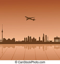 encima, avión, vuelo, berlín