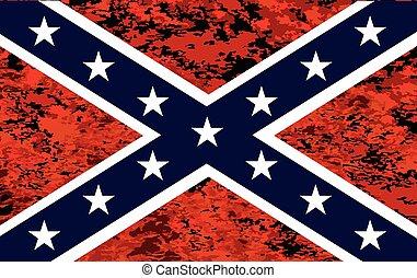 encima, bandera confederada, fuego