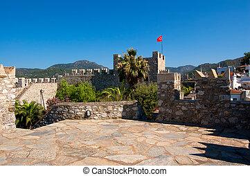 encima, bandera, fortaleza, turco