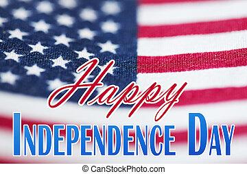encima, bandera, norteamericano, palabras, día, ...