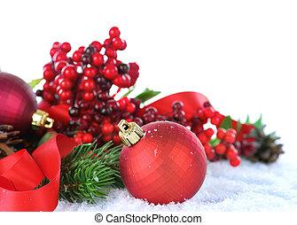 encima, blanco, decoraciones, navidad