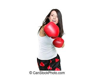 encima, boxeador, joven, hembra, blanco