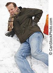 encima, calle, se resbalar, hombre, nevoso