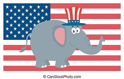 encima, carácter, bandera, estados unidos de américa, elefante