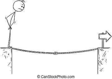encima, caricatura, entretela, cuerda de equilibrista, abismo, hombre de negocios, desafío
