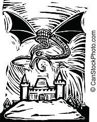 encima, castillo, dragón