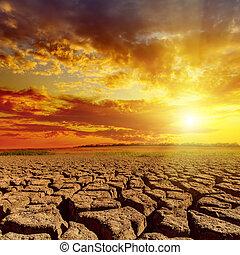 encima, cielo, nublado, ocaso, naranja, desierto