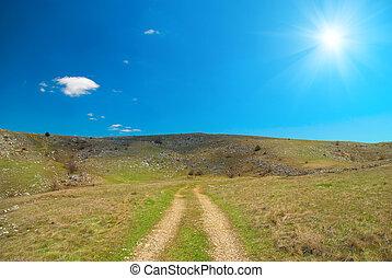 encima, colinas, camino