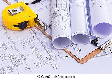 encima, construcción, cinta, plan, medida, dibujo