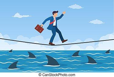 encima, cuerda de equilibrista, tiburón, hombre de negocios...