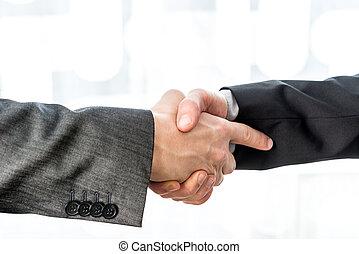 encima, dos, confuso, Hombres de negocios, Plano de fondo, Manos, sacudida, Extracto