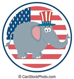 encima, elefante, bandera, estados unidos de américa, etiqueta