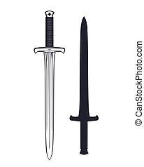 encima, espada, blanco, aislado, medieval