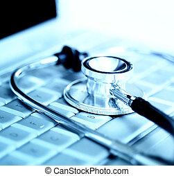 encima, estetoscopio, teclado ordenador portátil