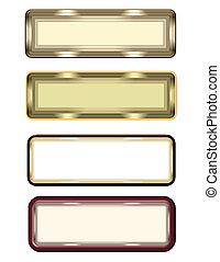 encima, etiquetas, metal, blanco
