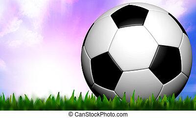 encima, fútbol, cielo, hierba verde, crepúsculo