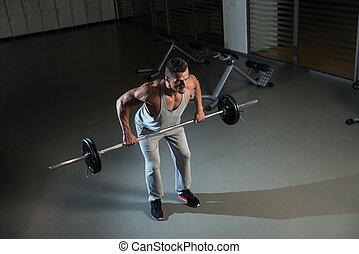 encima, fila, entrenamiento, doblado, espalda