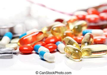 encima, fondo blanco, píldoras