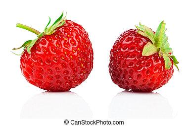 encima, fresas, aislado, plano de fondo, blanco