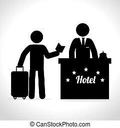 encima, hotel, ilustración, vector, diseño, plano de fondo, blanco