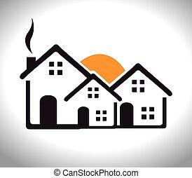 encima, ilustración, vector, desgin, plano de fondo, hogar, ...