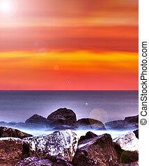 encima, italy., salida del sol, mar adriático