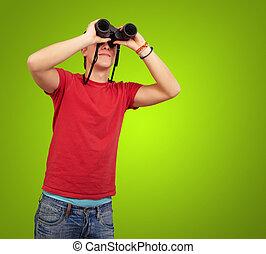 encima, joven, binoculares, verde, Plano de fondo, retrato, hombre