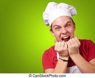 encima, joven, verde, Plano de fondo, cocinero, retrato, estridente, hombre