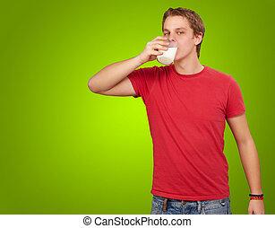 encima, joven, verde, Plano de fondo, retrato, bebida, leche, hombre
