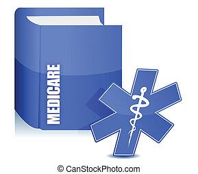 encima, libro, medicare, ilustración