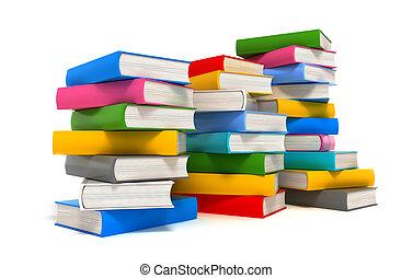 encima, libros, pila, blanco