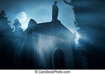 encima, lleno, cementerio, luna