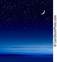 encima, luna, océano