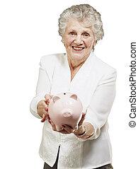 encima, mujer, actuación, cerdito, plano de fondo, retrato, blanco, 3º edad, banco
