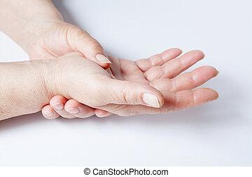 encima, mujer, fondo blanco, manos