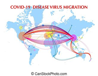 encima, mundo, transporte, virus, mapa, posible